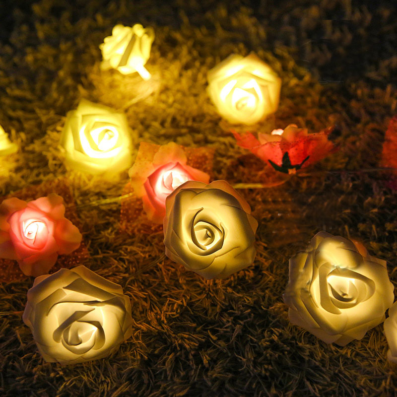 2M 20Leds Rose Flower String Holiday Lighting Fairy Wedding Party Christmas Garlands Decoration AA Battery Guirlande