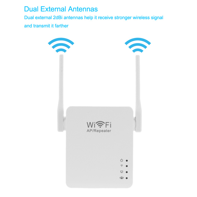 300Mbps Wireless WiFi Repeater Network Repetidor AP Client Wireless-N Range Signal Extender Dual External Antenna 802.11 b/g/n