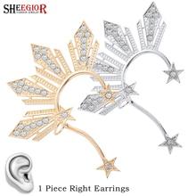 Gold Crystal Star Ear Clip Earrings for Women Accessories Lovely Hyperbole Rhinestone Stars Big Cuff Earring Fashion Jewelry
