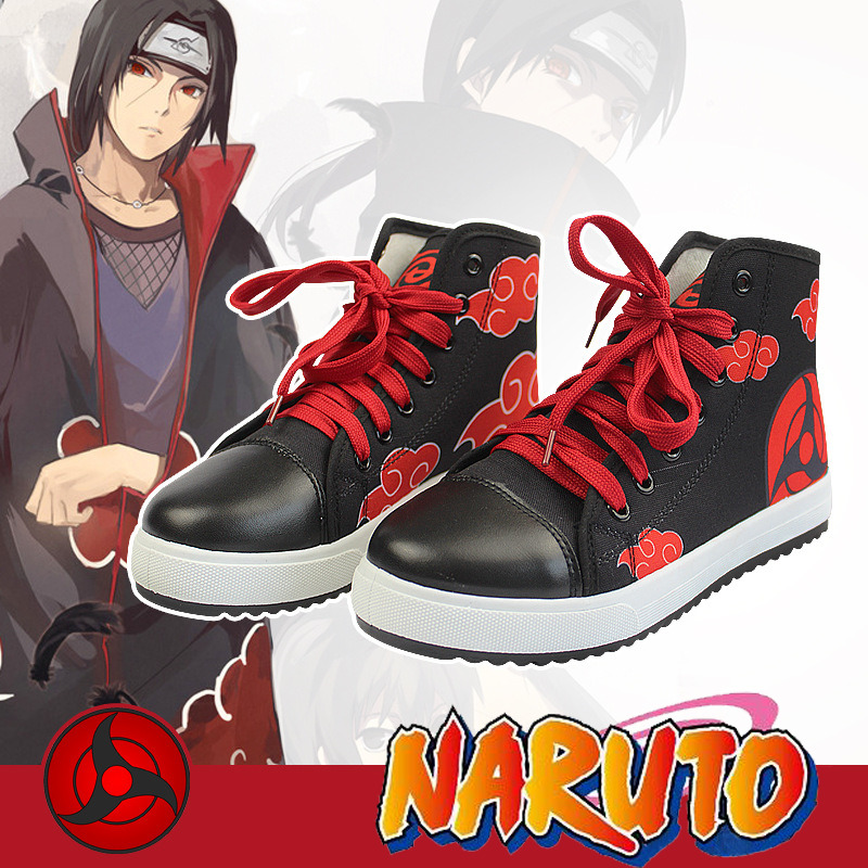 Anime Naruto Akatsuki Clouds Cosplay Shoes Fashion Unisex Casual Canvas Sneakers for Women Men Dropshipping