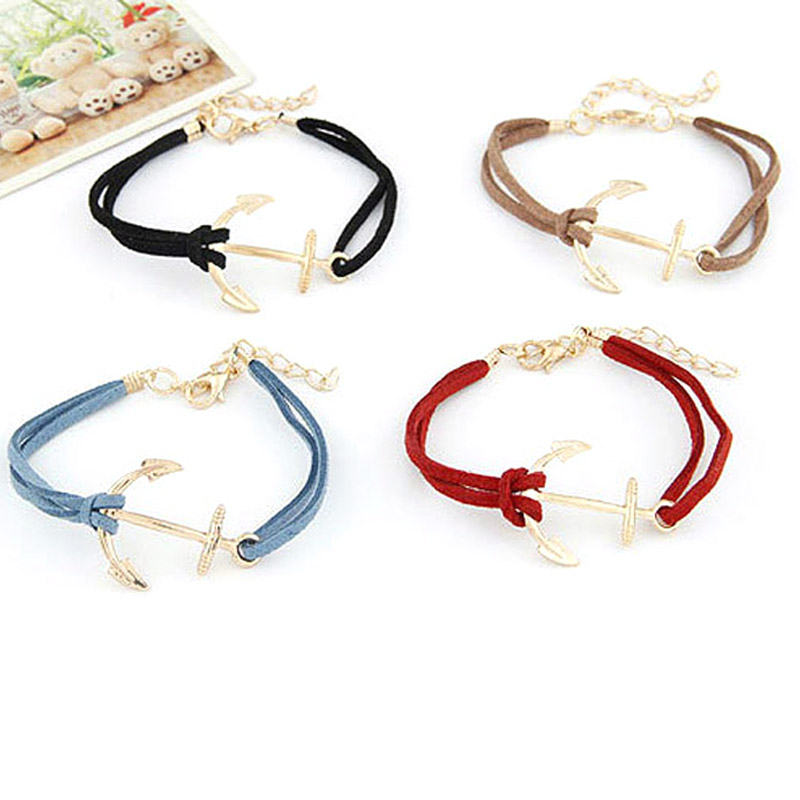 2017 Europe Hand Made Retro Alloy Anchor Bangles For Women Alloy Rope Ewelry Weave Wristband Bracelet Adjustable Free Shipping