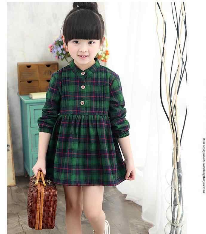 YAUAMDB/плиссированное платье для девочек 2017 г. осенне-зимние От 4 до 12 лет хлопковые детские Платья До Колена в клетку детская повседневная одежда с длинными рукавами y34