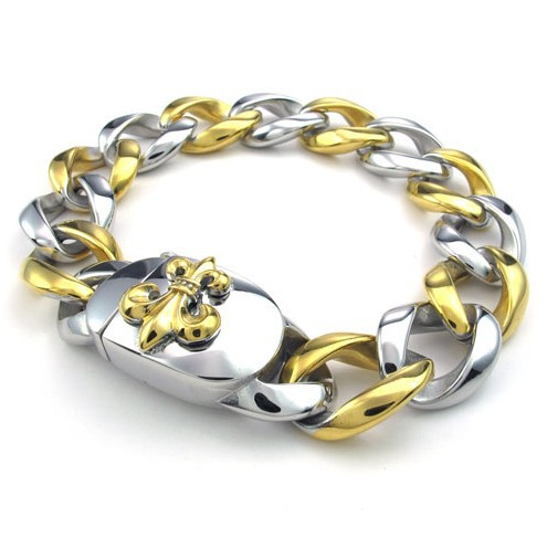 Silver Gold Stainless Steel Bracelet Men Jewelry FashionDesigner