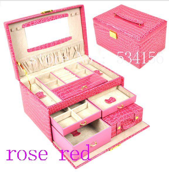 3 layers rose red  luxurious leather jewelry box  (28.5 * 19 * 16 cm)earrings jewelry packaging display box pu gift box