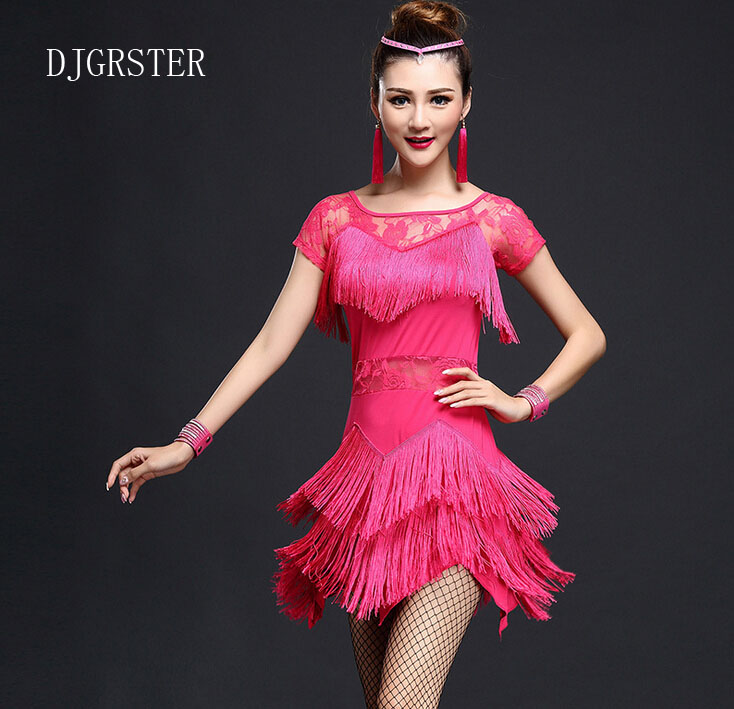 Latin Dance Dress Hot-sale Rumba Jive Chacha Ballroom Girls Women ,fringe Latin dance dress,salsa dress Black red blue,rose red