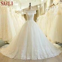SL 540 gran oferta de vestidos de novia con flores y perlas, novedad de 2019, Apliques de encaje bohemia de muselina de manga corta, vestidos de novia