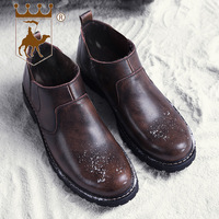 BACKCAMEL Winter New Boots Leather Mens Boots Warm Cotton Boots Work Boots Men's Shoes High Quality Footwear Size 38 44