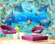 Beibehang Custom wallpaper underwater world 3D TV background wall decoration living room bedroom childrens 3d