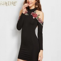 ISHINE Simplee Apparel Women S Long Sleeve Flower Embroidered Choker Cold Shoulder Bodycon Regular Mini Short