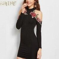 ISHINE Simplee Apparel Women S Long Sleeve Flower Embroidered Choker Cold Shoulder Bodycon Regular Mini Short