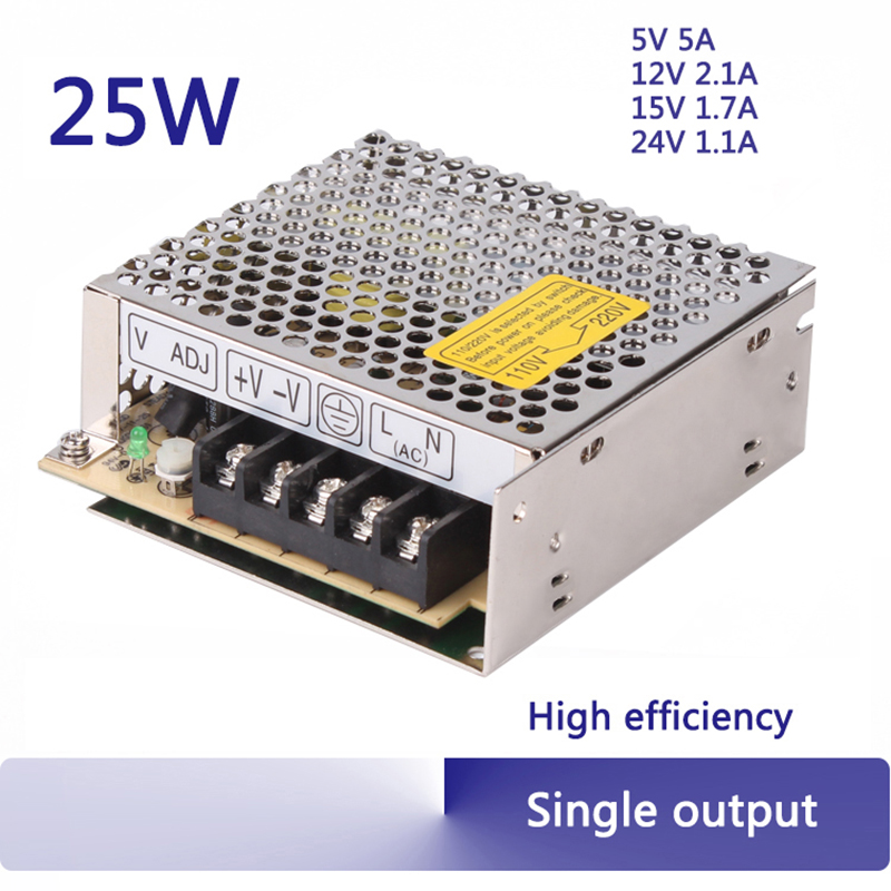 5V 12V 15V 24V 25W switching power supply 25W 5v 5a output transformer 110/220v ajustable high quality led power supplies S-25 25w 5v 5a switching power supply dc15v power supply