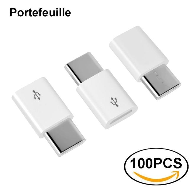 Portefeuille 100PCS USB Type C Adapter USB C to Micro USB Adapter Converter for Nexus 5X Xiaomi Samsung Galaxy S8 Plus Oneplus 5