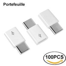 Portefeuille 100PCS USB Type C อะแดปเตอร์ USB C Micro USB Adapter Adapter สำหรับ Nexus 5X Xiaomi Samsung Galaxy S8 plus Oneplus 5