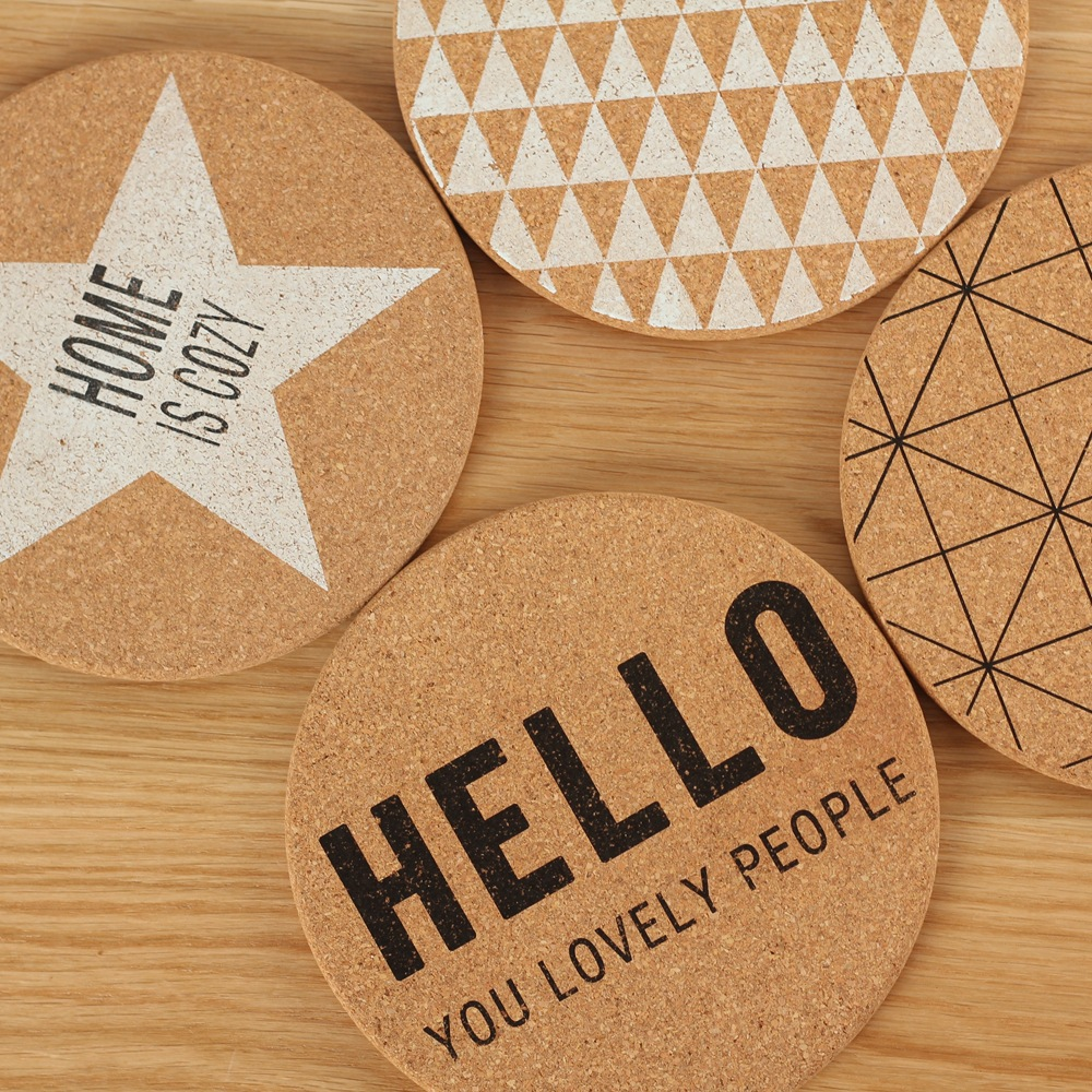 4Pcs/Lot Kitchen Design Coasters Table Mat Round Geometric Cork Insulation Pad Placemat Dining Table Coasters Mat Dish Cup Pad