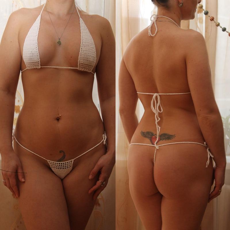 13 Color Hand Crochet Sunbathing Hot Bikini Women Sexy Micro Swimwear Mini Lingerie Sets Bikini Set     - title=
