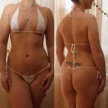 13 di colore Crochet della Mano per Prendere Il Sole Caldo del Bikini Delle Donne Sexy Micro Mini Costumi Da Bagno Lingerie Set