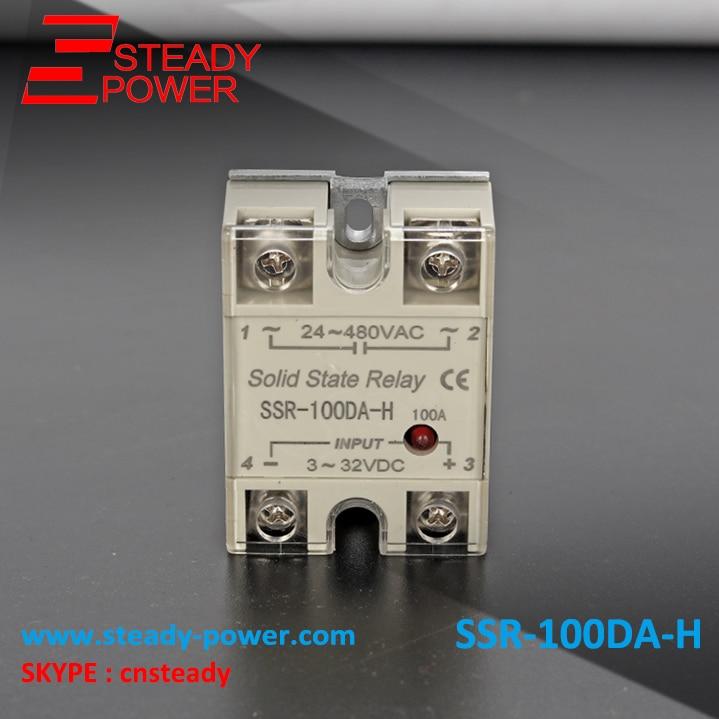 SSR-100DA-H Single Phase 100A DC control AC High Voltage Solid State Relay 100A input 3-32V DC output 90-480V AC relay 80dd ssr control voltage 3 32vdc output 5 60vdc dc single phase dc solid state relay