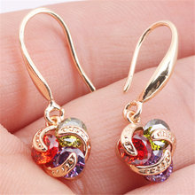 New Fashion Women/Girls Gold Color Multicolor CZ Dangle Earrings Jewelry