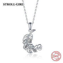 Strollgirl Genuine 925 sterling silver Trendy Simple Feather Pendant Necklace Women Sterling Silver Jewelry For Valentine Gift