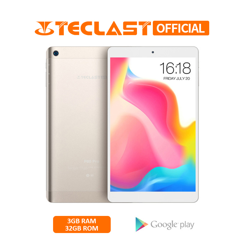 Teclast P80 Pro Tablets PC 8.0 Inch 1920*1200 3GB RAM 32GB ROM Dual WiFi Android 7.0 MTK8163 Quad Core Tablet Dual Wifi GPS