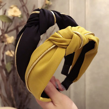 New High Grade Gold Striped Hit Color Knotted Hairbands for Women Wide-brimmed Fabric Headband Korean Hair Accessories Female