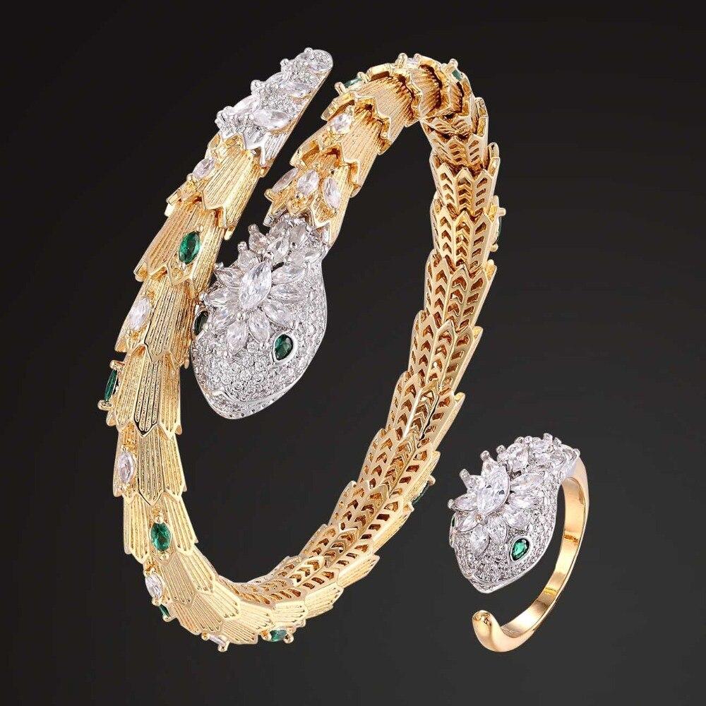 Zlxgirl One line Green Eye Cubic zircon Snake Shape animal Bangle Rings jewelry Sets metal copper