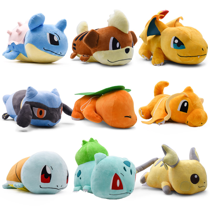 9 Style Crouching Charmander Raichu Bulbasaur Squirtle Dragonite Lapras Charizard Growlithe Anime Plush Stuffed Doll Peluche Toy