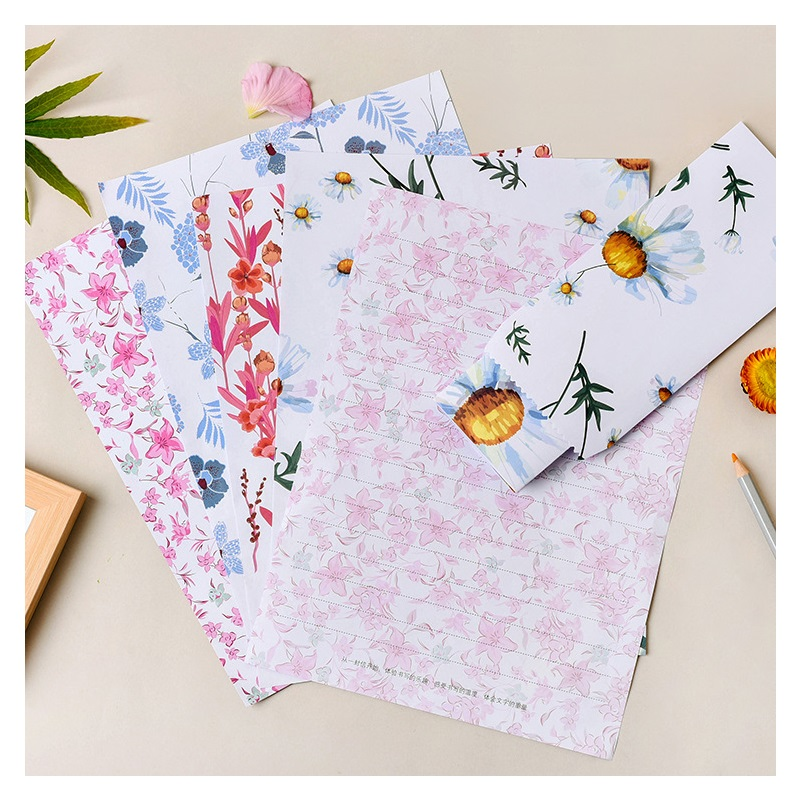 9 Pcs/Set 3 Envelopes+6 Sheets Letter Paper Novelty Flower Leaf Series Envelope Gift Stationery