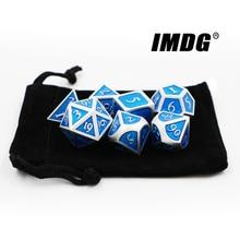 IMDG 7 teile/satz Kreative RPG Spiel Würfel Polyeder Metall Würfel DND Neue Emaille Perle Silber Blau Digitale Spiel Würfel