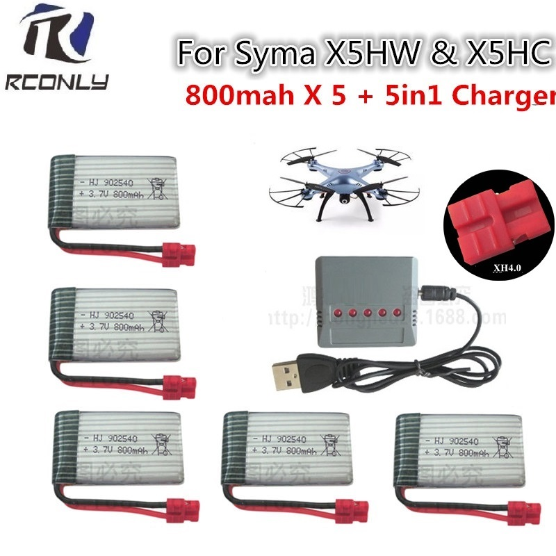 3.7V 800mAh LiPo Battery for SYMA x5c x5sw RC Drone Quadcopter + AC 5in1 Charger Spare Parts Set free shipping