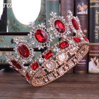 Baroque Vintage Gold Red Crystal Crown Wedding Tiara Rhinestone Pageant Crowns Luxurious Bride Headbands Women Hair Accessories
