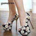 Свадебная обувь белый цветок насосы Платформы обувь экстремальные Туфли на каблуках Насосы фиолетовый каблуки Вечеринок обувь размер 34-40X12