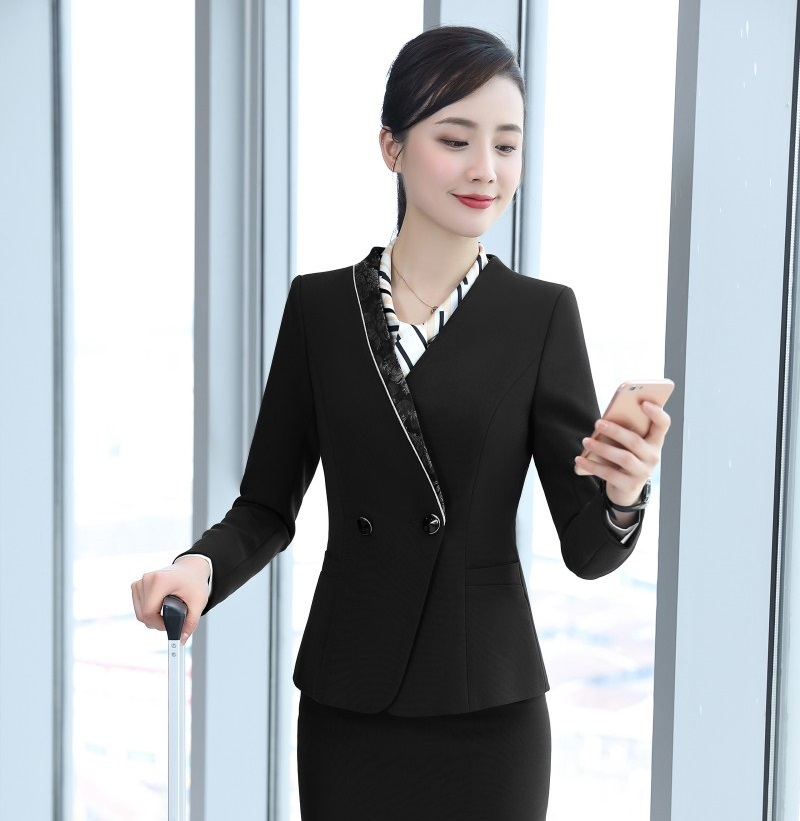 New 2018 Fashion Office Ladies Black Blazers Women Outerwear Jackets Long Sleeve Female Work Wear Clothes