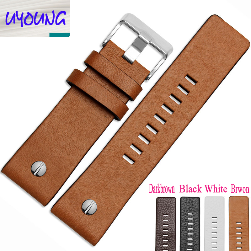 Genuine leather bracelet watchband womens mens watch strap wristwatches band 22 24 26 28 30mm white color for DZ1405 DZ4323 delsey extendo iii 620803 page 2