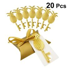 20pcs Creative Pillow Candy Boxes Cardboard Paper Gift Boxes With Golden Pineapple Shaped Bottle Opener For Wedding Party