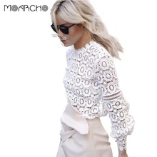 MOARCHO Elegant floral lace blouse shirt Women lantern sleeve white blouse 2017 Spring and summer hollow out short top blouse bl(China)