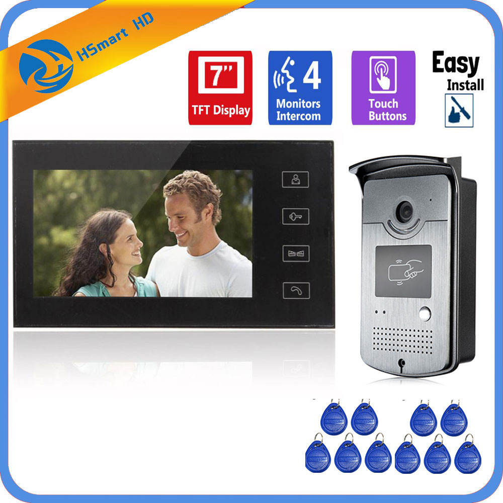 Home 7inch TFT Monitor Color RFID Card Access Video DoorPhone Doorbell Intercom System HD 800TVL IR LED Waterproof Camera