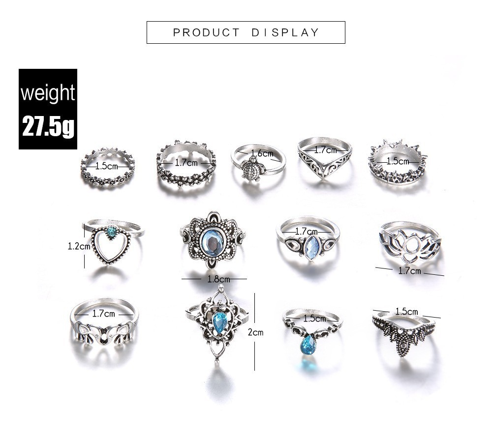 Bague Femme Vintage Rings for Women Boho Geometric Flower Crystal Knuckle Ring Set Bohemian Midi Finger Jewelry Silver Color 44