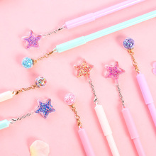 Cute Star Wind Chime Pendant Gel Pen 0.5mm black ink neutral pens Stationery School & Office writing Supply Promotional Gift new design stitch pendant gel pen ink pen promotional gift stationery school