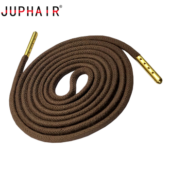 JUPHAIR Thick Round Waxed Shoelaces Custom Noble Gold Metal Tip Shoelace Fit Boots Sneakers Dress Leather Shoes Shoe Laces juphair thin waxed cotton shoelaces round gold metal head waxing shoelace dress leather shoes strings boot sport shoe laces