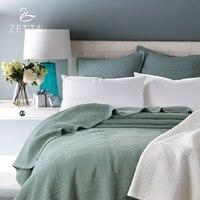 [ZETTA] 100% Pure Cotton Quilted Sheets Dark Green Premium Bed Cover Premium Bedding 200*230cm 0004