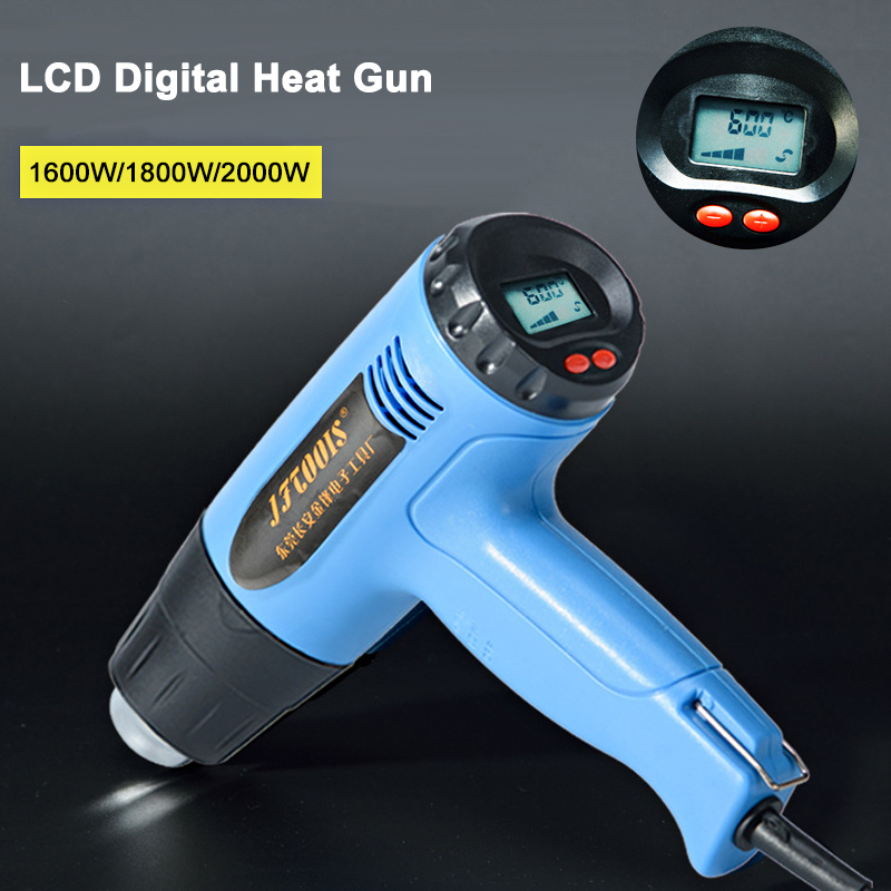 все цены на JFTOOLS Electric Hot Air Gun LCD Digital Heat Gun Adjustable temperature 1600W 1800W 2000W 220V Heat air Guns Shrink Power Tools