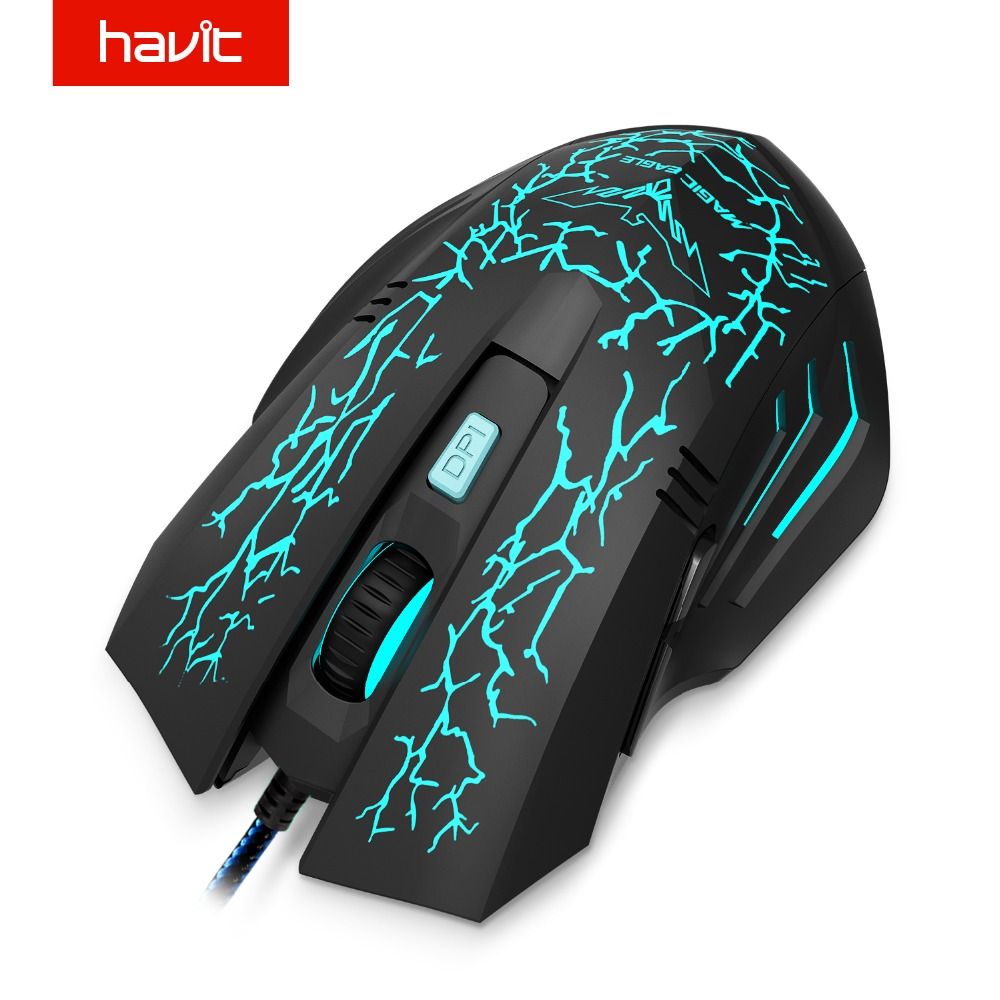 HAVIT Wired Gaming Mouse USB 2400 DPI 7 retroiluminación LED Ergonómico Ratón de la computadora Gamer para PC portátil de escritorio HV-MS672