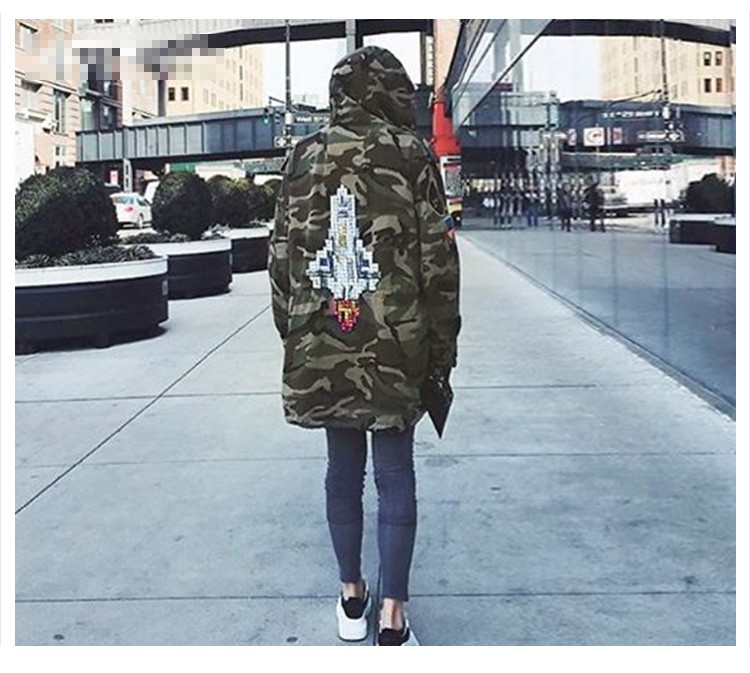 Aolamegs Camouflage Jacket Men Justin Bieber Style Rocket Embroidery Windbreaker Medium-Long Hooded Trench Coat Plus Size S-XXXL (6)