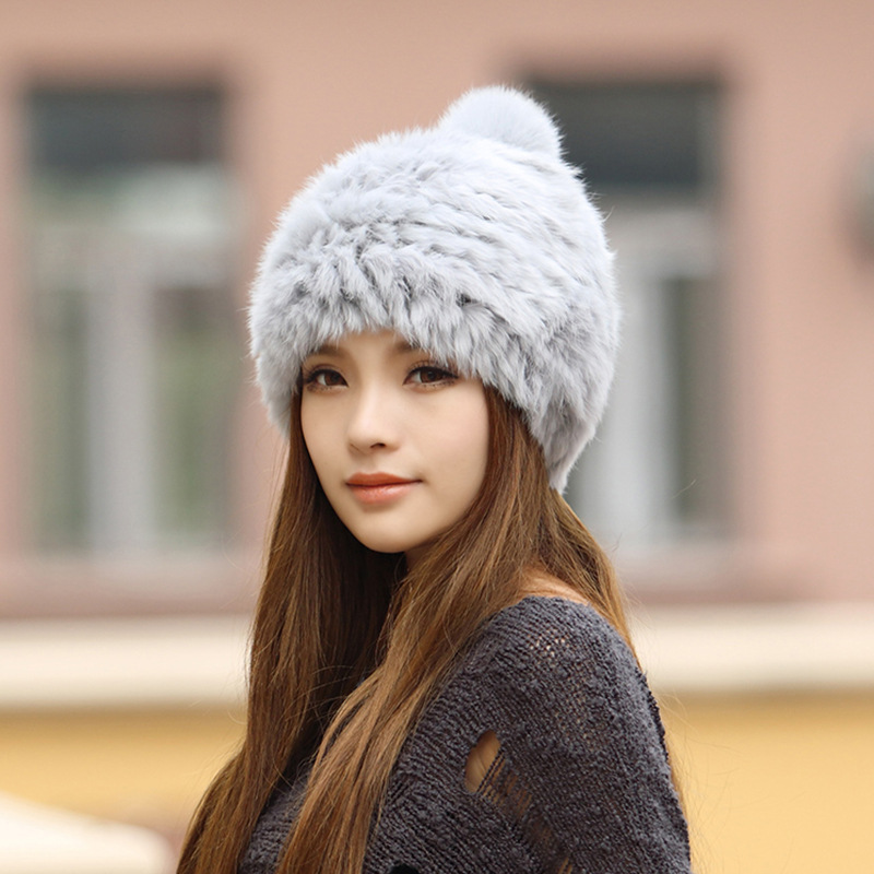 2016 Korean popular winter women's fur rabbit fur hat Lovely ear protection to keep warm in winter fashion hat N624 rabbit hair lady autumn winter new weaving small pineapple fur hat in winter to keep warm very nice and warm comfortable