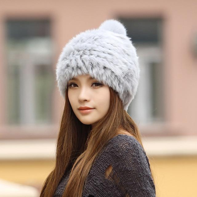 2016 Korean popular winter women's fur rabbit fur hat Lovely ear protection to keep warm in winter fashion hat N624