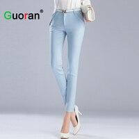High Quality Perfect Women Pencil Pants Blue Black White 9 Capris Pants For Office Ladies Work