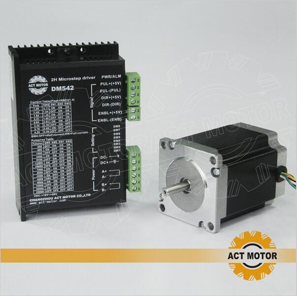 ACT Motor 1PC Nema23 Stepper Motor 23HS8630B Dual Shaft 6-Lead 270oz-in 76mm 3A+1PC Driver DM542 4.2A 50V Milling Machine