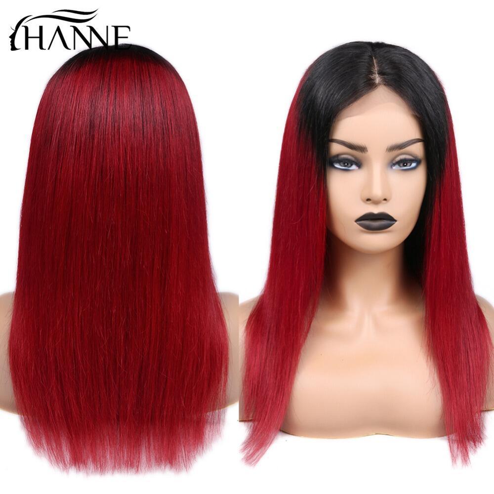 4*4 Lace Closure Wigs Brazilian Human Hair Wig 150% Density Straight Ombre Wigs For Black Women HANNE Hair
