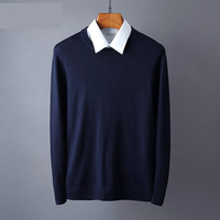 Sweater Men Classic Solid Color Casual O Neck Mens Sweaters And Pullovers Solid Long Sleeve Pullover Male KS02